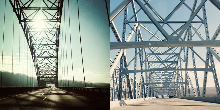 Two bridges from my journey: the one on the left crosses the Ohio River from Indiana to Kentucky, while the photo on the right is a bridge crossing the Ohio River from Kentucky to Ohio.