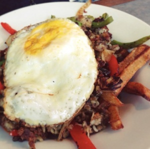 Goetta Hash (goetta, peppers, onions, eggs, and frites)