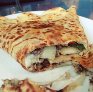 'Nati Crepe (egg, goetta, roasted peppers & onions, and Provolone cheese)