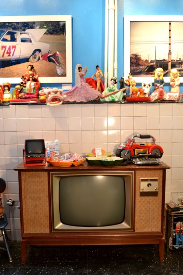 Vintage television and novelty item display at Chicken Lays an Egg.