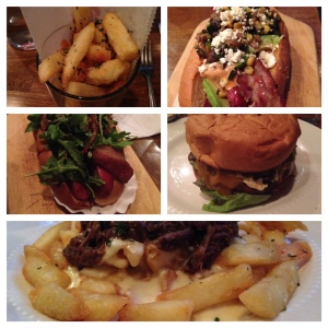 Clockwise (from bottom): Poutine, Amanda Bynes, Truffle Fries, Ke$ha, Senate Burger