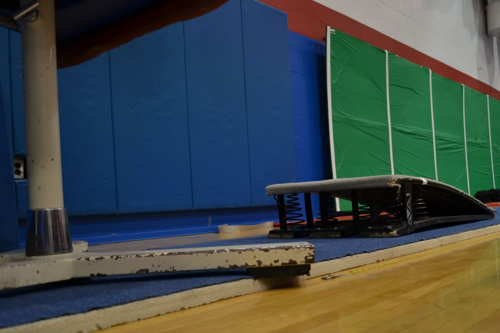 Vaulting table and springboard.