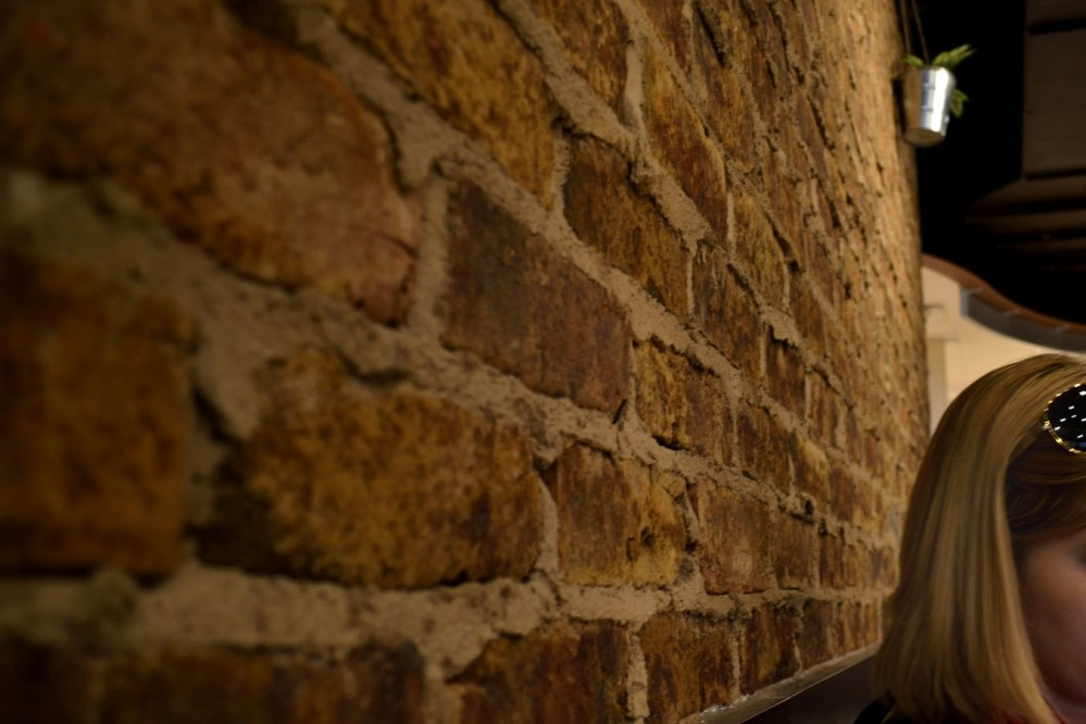 Wonderful exposed brick wall (and my friend, too)