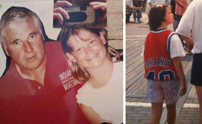 Left: Bob Knight thrilled to be meeting me. I hate those bangs, too, man. Right: Me wearing a Washington Bullets Calbert Cheaney jersey (AND ZUBAZ SHORTS) at Universal Studios c. 1994.