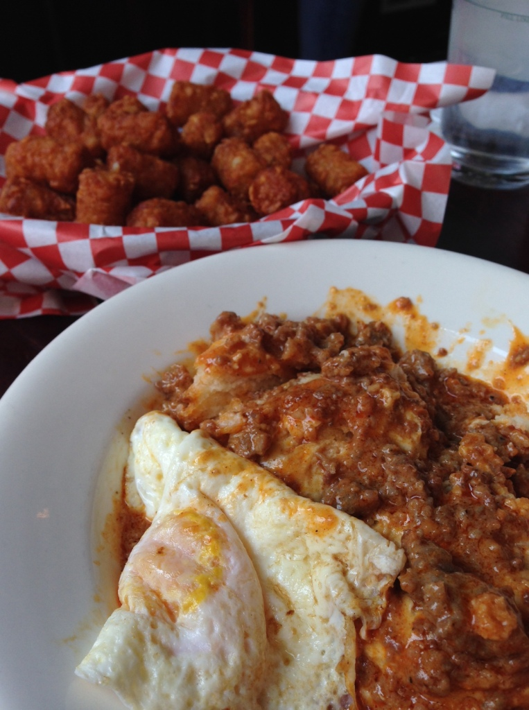 Biscuits and chorizo gravy and tater tots at MOTR brunch