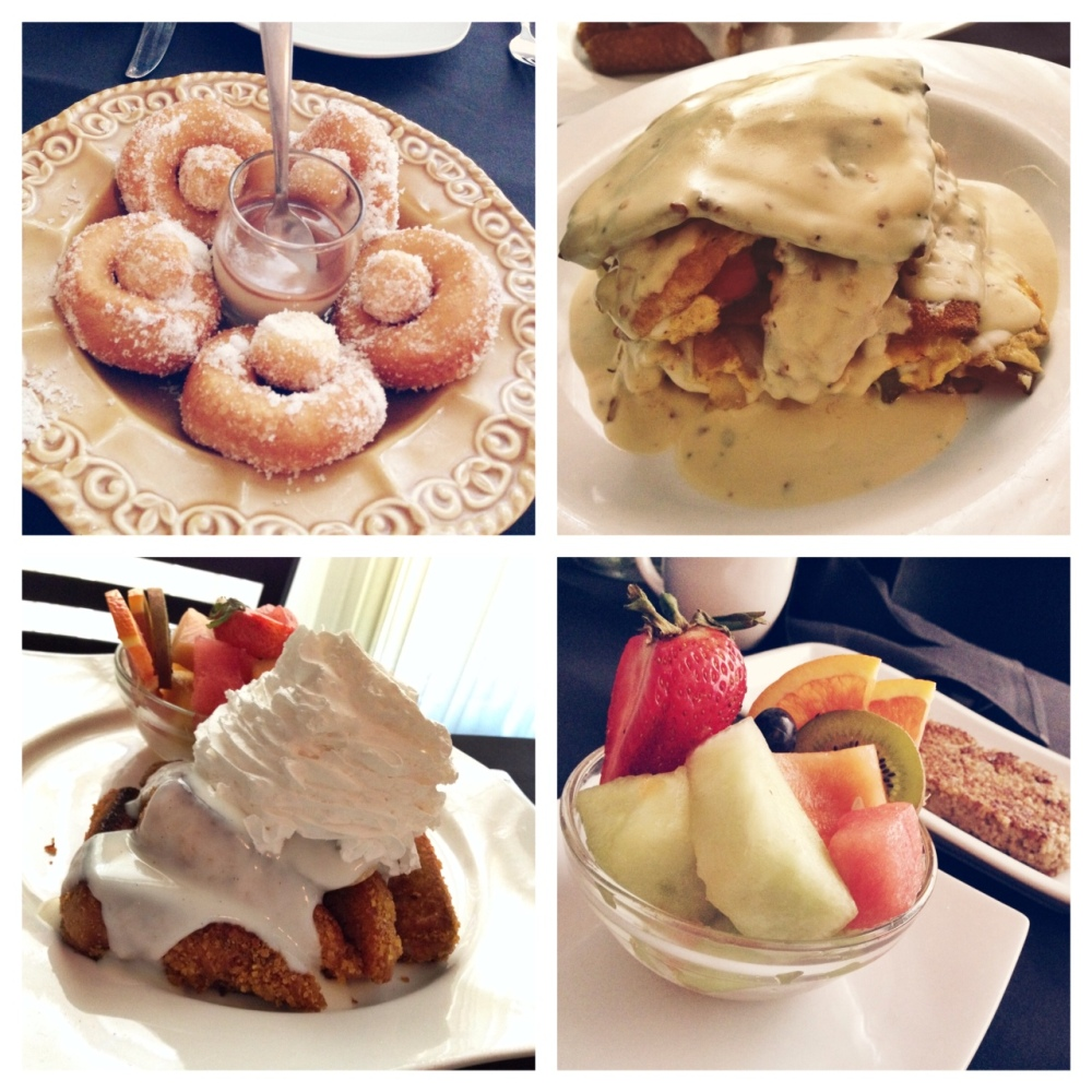 Food [clockwise from top left]: Fresh Hot Donuts, Breakfast Lasagna, goetta and fresh fruit, and Unforgettable French Toast.