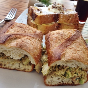 Curried Chicken Salad Sandwich and Challah French Toast