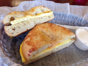 Asiago bagel with egg and cheese