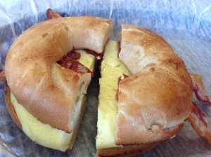 French Melt (French toast bagel with egg, cheese, and bacon instead of sausage)
