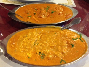 Chicken Makhani (rear) and Shahi Paneer (front).