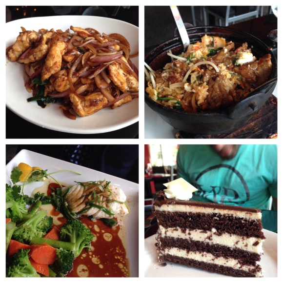 Clockwise from top left: Mongolian Chicken, Beef Bibimbap, BonBonerie Opera Cream Cake, Grilled Halibut