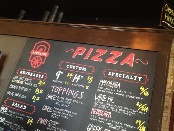 Fireside's chalkboard menu.