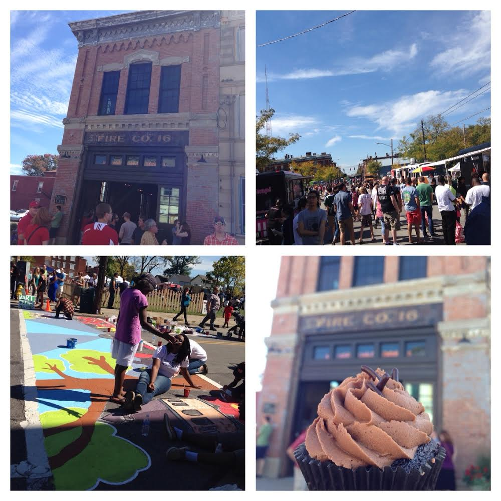 Cincinnati Street Food Festival (clockwise from top left): Fireside grand opening, Street Food Festival on McMillan, SugarSnap! Death by Chocolate cupcake, and street art.