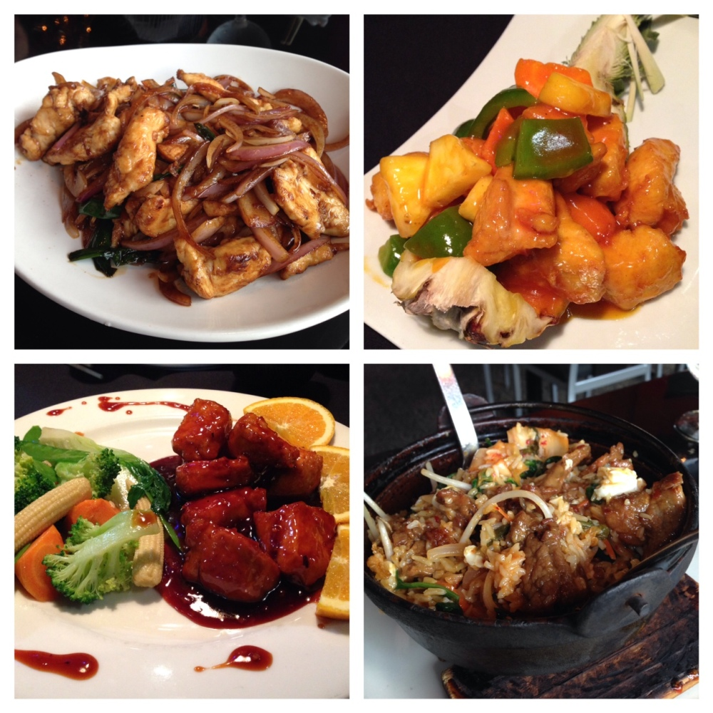 Food (clockwise from top left): Mongolian Chicken, Pineapple Chicken, Beef Bibimbap, and Mandarin Orange Chicken.