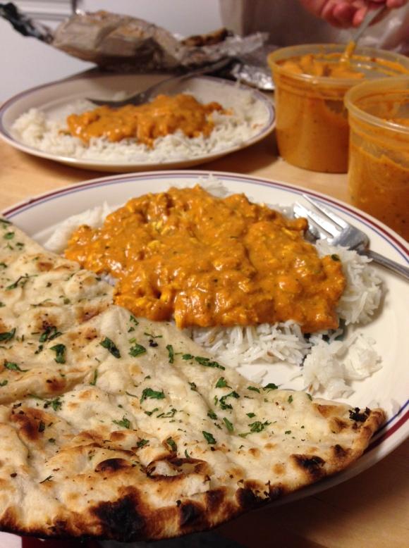 shahi paneer (front); chicken tikka masala (back)
