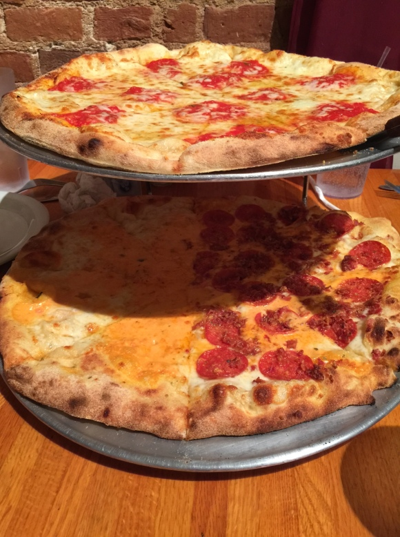 Top: cheese pizza; bottom: large pizza with vodka cream sauce (half extra cheese; half pepperoni and bacon)