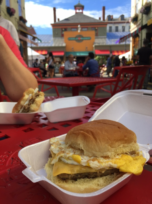 Eckerlin goetta, egg, and cheese sandwiches while at Findlay Market