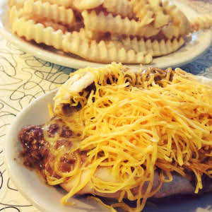 Coney and fries from Blue Ash Chili