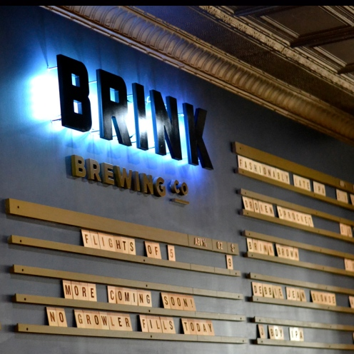 Beer menu board at Brink
